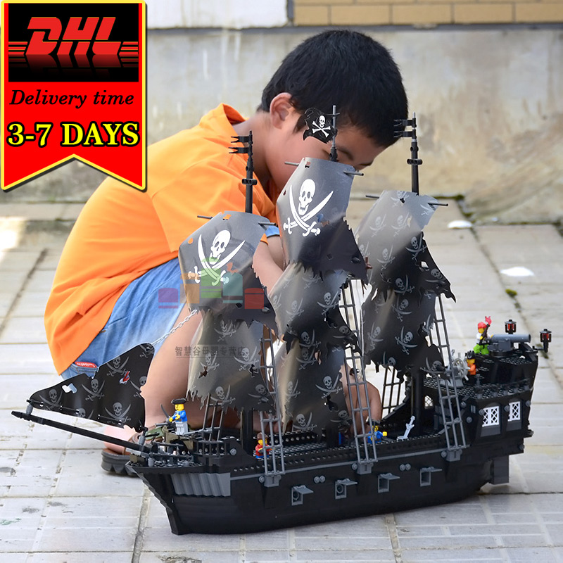 DHL KAZI 87010 Black Pearl Pirate Boat Building Blocks 1184pcs Figures Compatible Caribbean War Ship Brick Toy For Boys Children kazi 87010 the black pearl ship bricks set sale pirates of the caribbean building blocks toys for children hobby free shipping