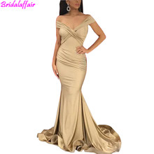 Sexy Off Shoulder Champagne Mermaid Prom Dresses Simple Cheap Pleats Floor Length Evening Party Gown robes de bal