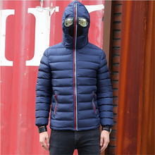 Men Parkas Fancy Hooded with Glasses youth Man Jackets Outwe