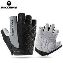 ROCKBROS Велоспорт велосипед Половина Finger Прихватки для мангала противоударный дышащий MTB горные велосипедные перчатки для мужчин женщин спортивные