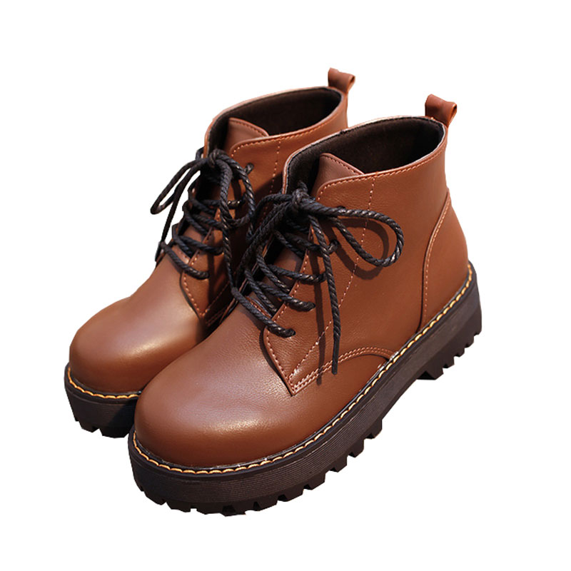 2018 Women Martin Boots Shoes Girls Lace Up PU Leather Classic Women Flatform Shoes Spring Autumn Casual Rubber Shoes Boots lace up flatform satin shoes