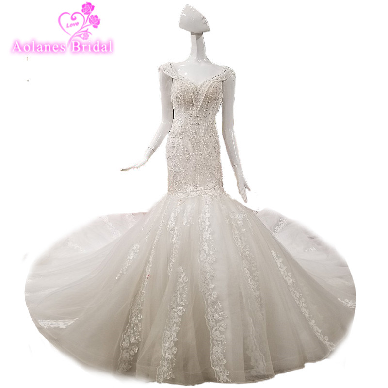 2018 New Arrival Sleeveless Gray Lace Wedding Dress Tulle V-neck Chapel Train Backless Mermaid Cap Sleeve Bridal Gowns Mariage
