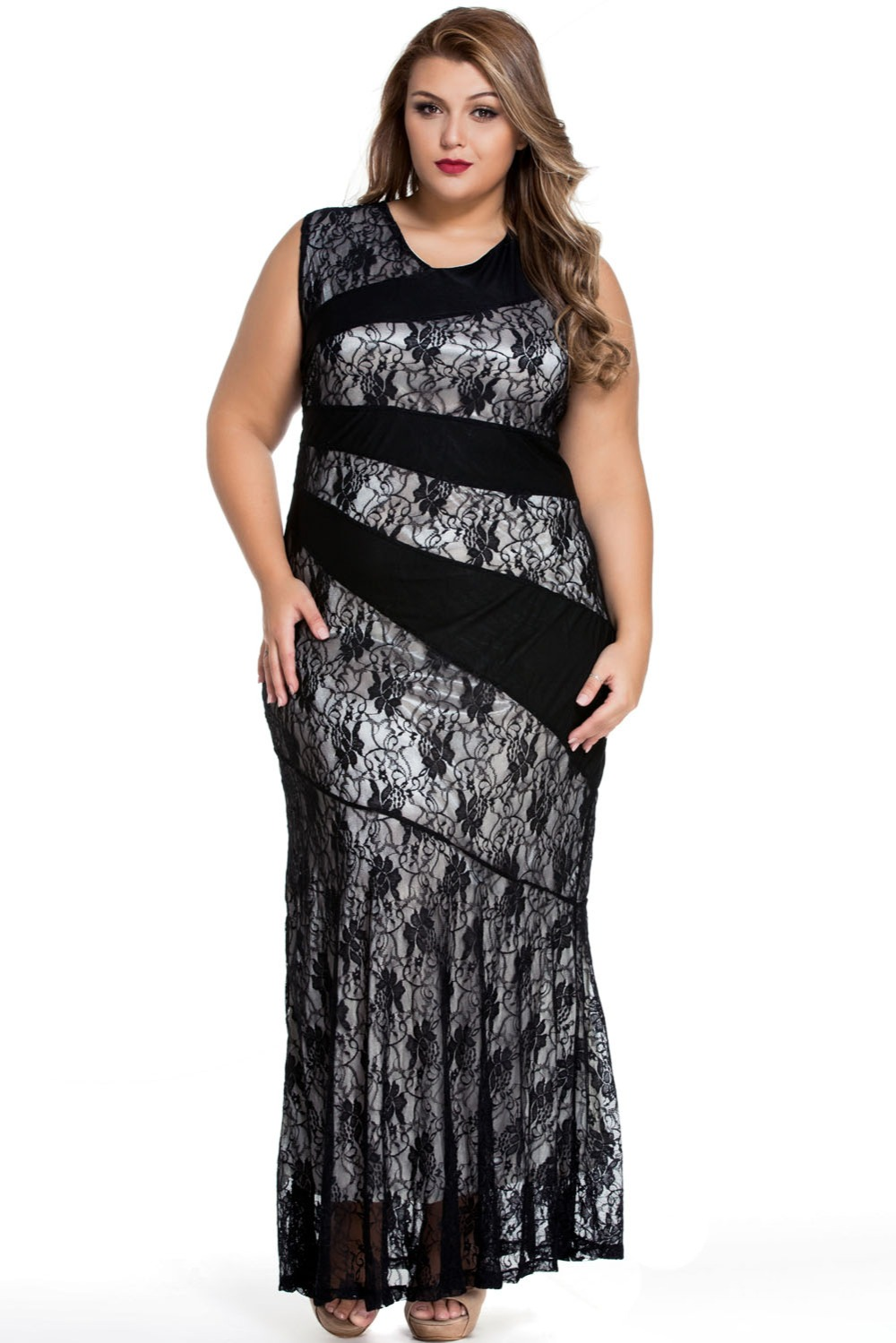 Cfanny 2016 New Black Red Blue Stylish Lace Splice Plus