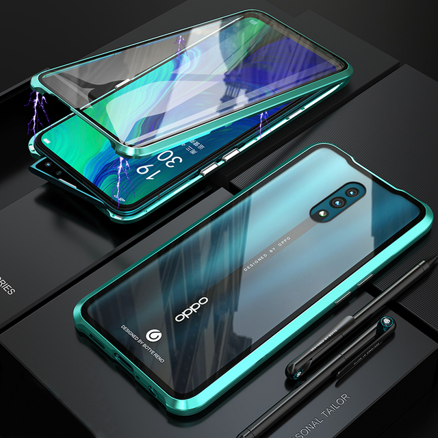 Luxury Magnetic Metal Bumper,Case For OPPO Reno Cover 360 Transparent Double-Sided Glass Full Body Case OPPO Reno Case Armor