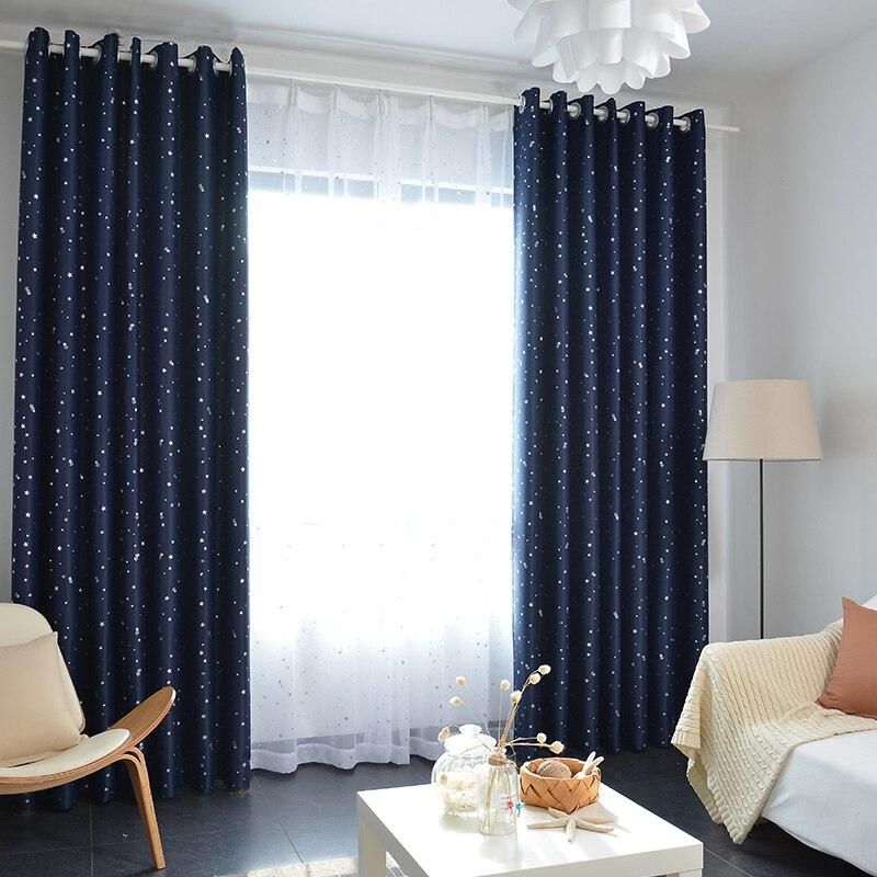 glanzende sterren kinderen doek gordijnen voor kinderen jongen meisje slaapkamer woonkamer blauwroze blackout cortinas custom made gordijnen 123 30 in