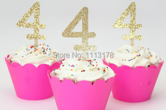 Gold Glitter Number Cupcake Toppers Girls Birthday Party