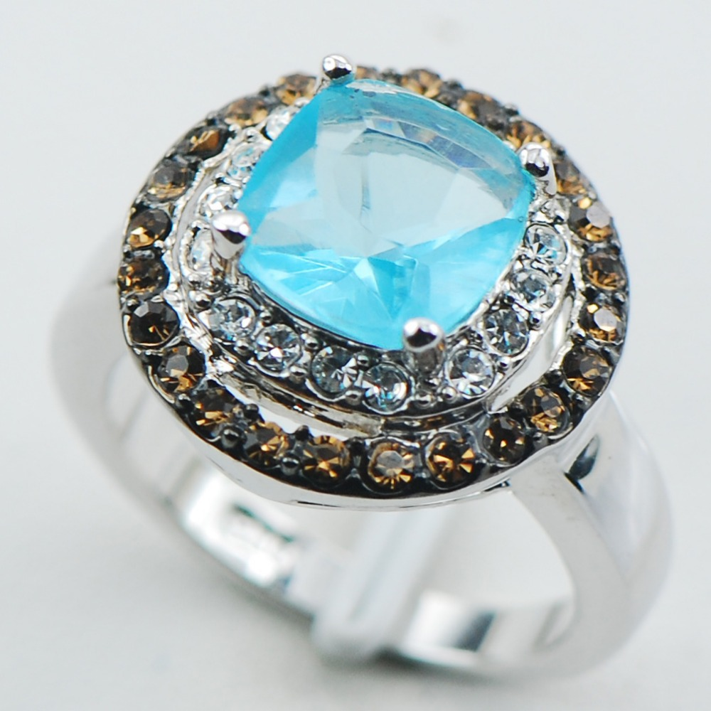 Simulated Aquamarine 925 Sterling Silver Top Quality Fancy Jewelry wedding Ring Size 6 7 8 9 10 F1101