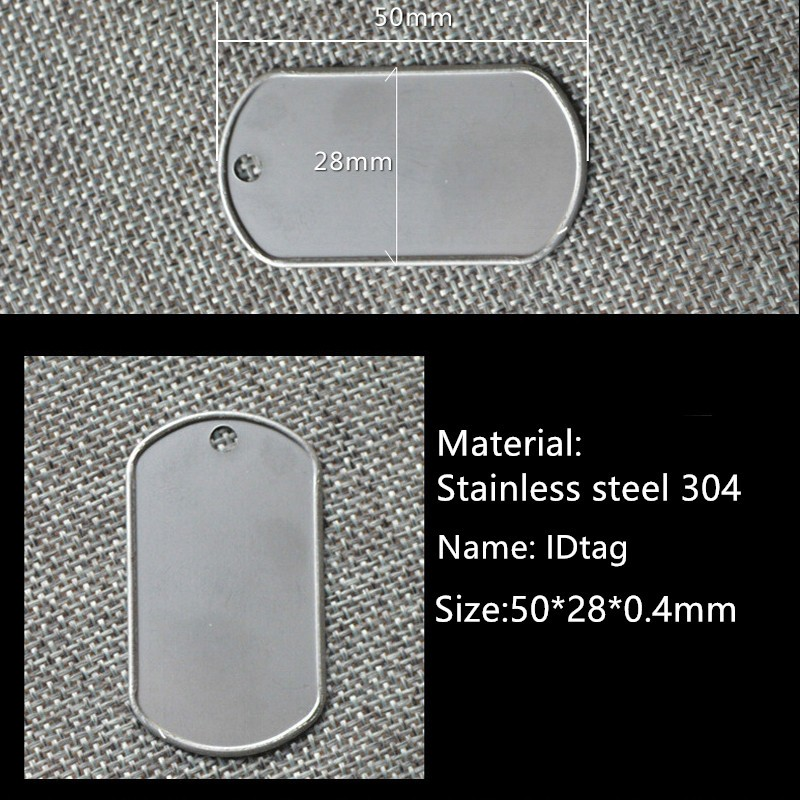 Free Shiping 100pcs/lot Pet Dog Cat Id Tag Blank Military Army Tags Stainless Steel 50mm*28mm*0.4mm Thickness