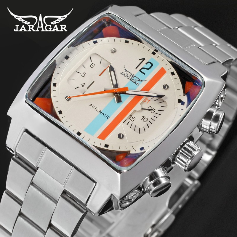 Jargar Automatic Dress Wristwatch Silver Color Mechanical Watches with Stainless Steel Band for Men jargar jag6902m3s2 automatic dress wristwatch silver color with black leather steel band for men hot selling free shipping