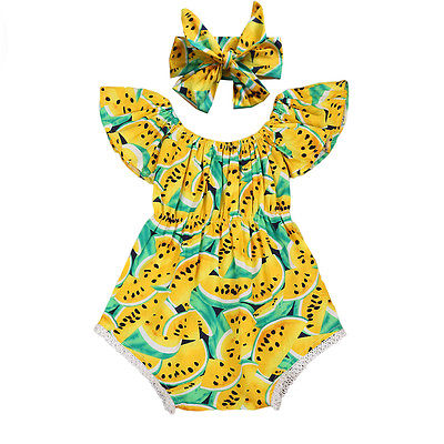 Newborn Baby Girl Clothing Watermelon Yellow   Romper  +Headdress Outfit watermelon Sunsuit Clothes