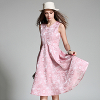 Floral Pink Tank Dresses For Women Sleeveless V Neck Vestido De Festa High Waist Blue Dress