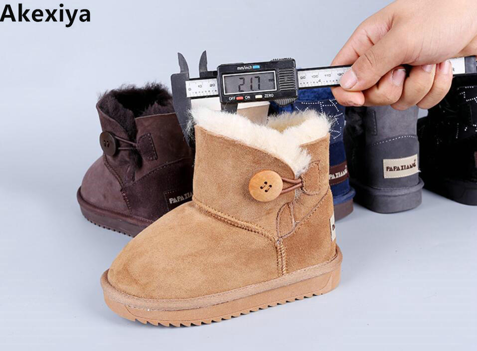 2019 button sheep fur one child snow boots boys boots girls boots winter snow shoes фантастика 2005
