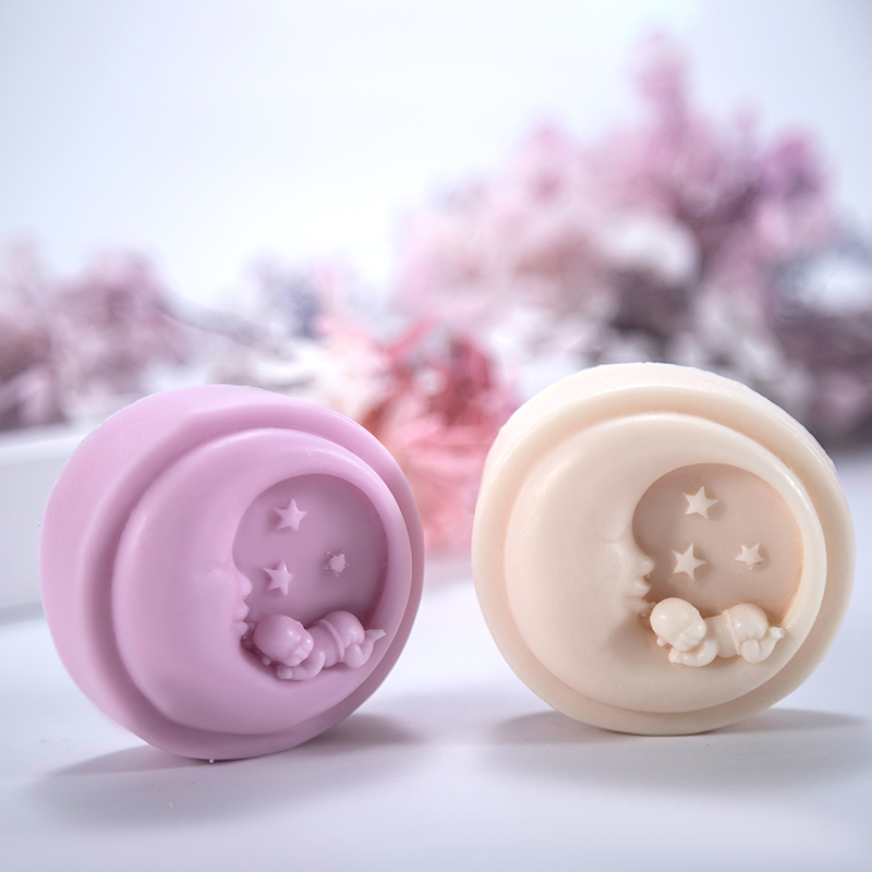 Round Moon Baby Handmade Soap Silicone Mould Candle Mold Fondant Cake Chocolate Decorating
