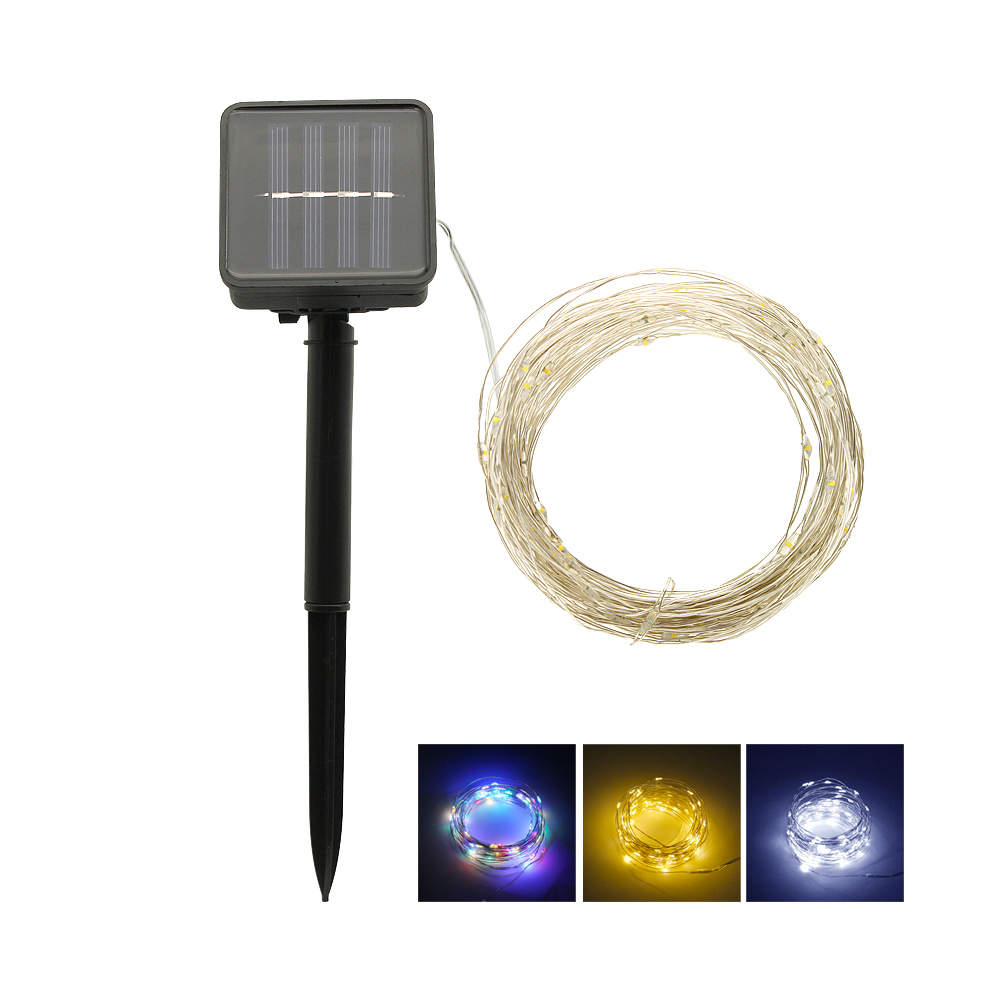 10M 20M Solar Lamp LED Silver Wire String Lights Outdoor Flash Fairy Garland Waterproof For Christmas Home Wedding Decoration