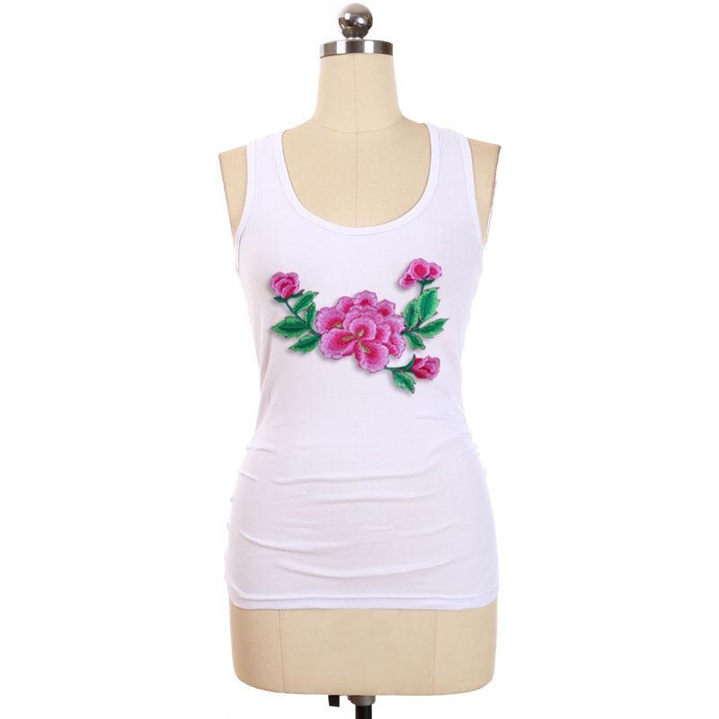 BLINGSTORY Women Tank Tops Women Plus Size Xxxxxl Cotton Embroidery Flower Summer Clothes LP49958A