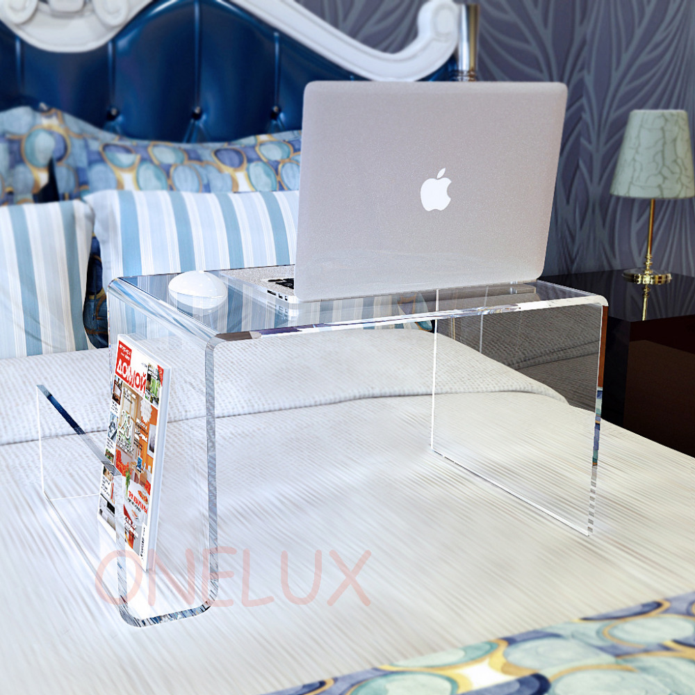 Waterall Lucite Bed Tray Table ,Acrylic Laptop Stand With Additional Magazine Rack - For Bed Use Purpose