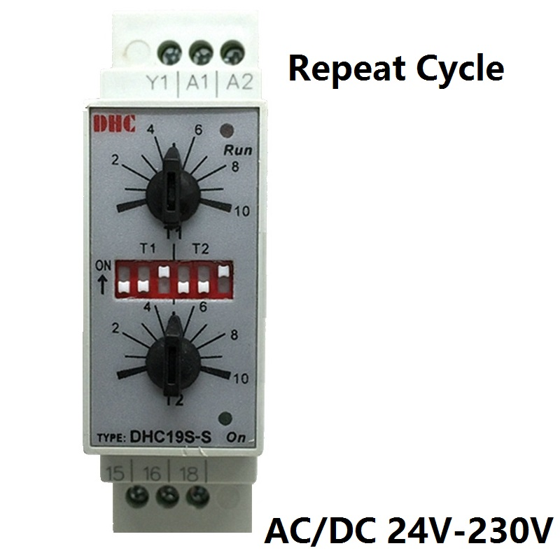 Double Set Repeat Cycle DIN Rail Mouting Time Relay AC/DC24-230V Input Timer DHC19S-S DHCDouble Set Repeat Cycle DIN Rail Mouting Time Relay AC/DC24-230V Input Timer DHC19S-S DHC