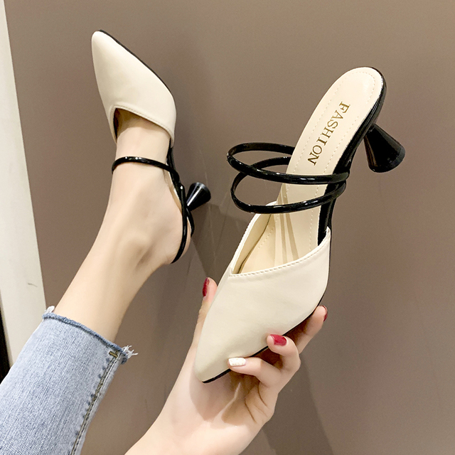 2019 summer new sexy outer wear shoes fashion slippers pointed high heels temperament sandals stiletto women's shoes tide 1