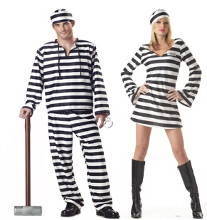 2016 Hot sale Prisoner Uniform suit Halloween Carnival Christmas Cosplay Costumes For Men Fancy Dress Party Sexy Clothing