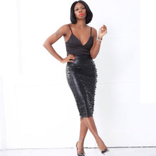 BKLD Women PU Leather Pencil Skirt High Waist Elegant Office Ladies Work Wear Pearl Beading Embellished Sexy Split Midi Skirts