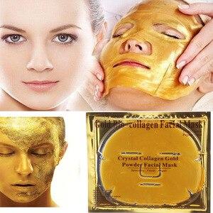 Image 2 - 10Pcs/Lot Skin Care Facial Mask Gold Collagen Black Mask Gold Crystal Collagen Powder Moisturizing Firming Oil Control Face Mask