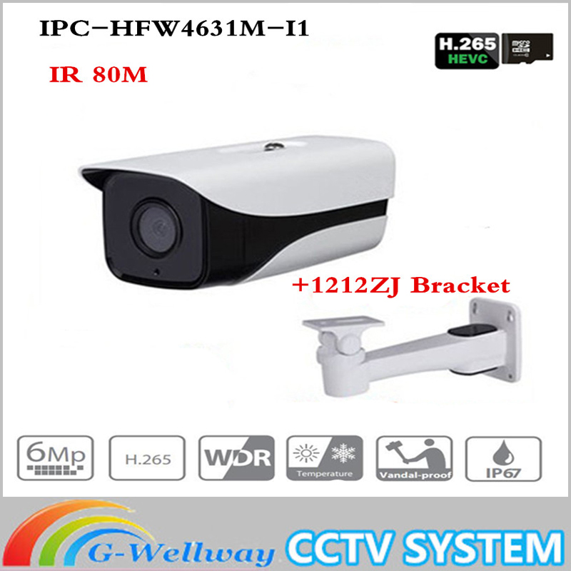 Original Brand IPC-HFW4631M-I1 6MP IP Camera IR50M IP67 POE CCTV camera replace IPC-HFW4431M-I1 outdoor camera with bracket все цены
