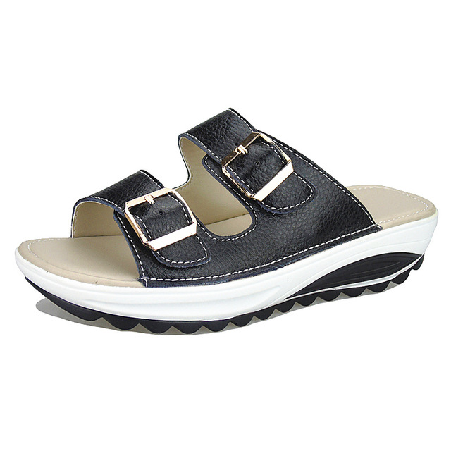 adc8c8468 Plus Size 35-42 Hot New Summer Woman Beach Slippers Sandals Casual Double  Buckle Clogs Sandalias Women Slip on Flip Flop Shoes