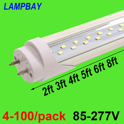 4-100/pack Super Bright LED Tube Bulb 2ft 3ft 4ft 5ft 6ft Double Row Lights T8 G13 Fluorescent Retrofit Lamp Daylight Lighting