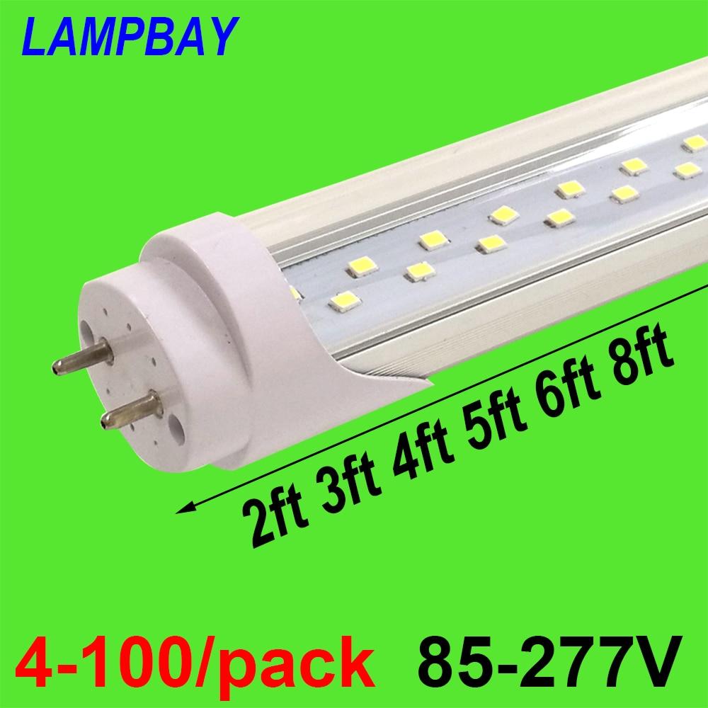 4-100/paquet ampoule à Tube LED très brillante 2ft 3ft 4ft 5ft 6ft Double rangée lumières T8 G13 lampe fluorescente de modification lumière du jour