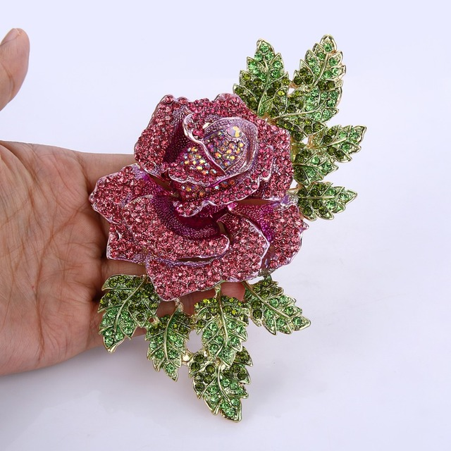 Tuliper Gorgeous Rose Flower Brooch Pins Austrian Crystal Rhinestone Brooches For Women Accessory Party Daily Jewelry Gift