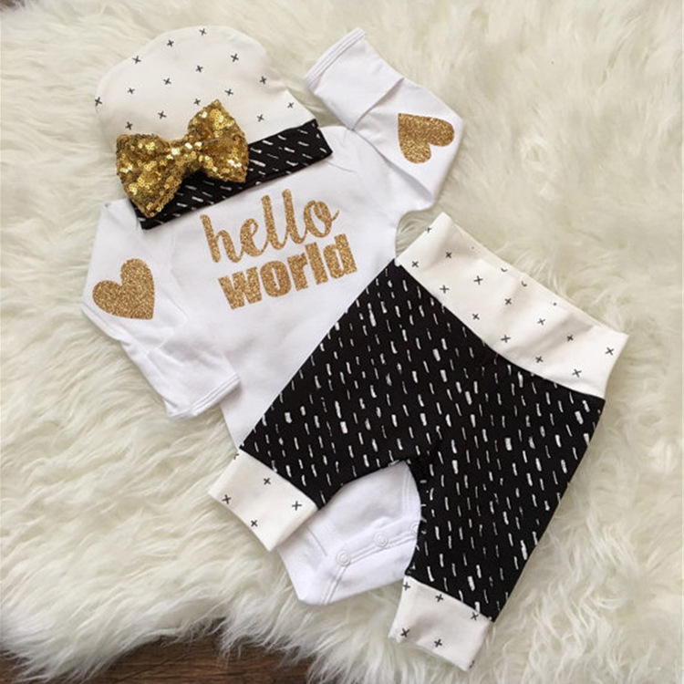цены  GSCH Newborn Baby Girls Clothes Cute Infant Bebes Hello World Long Sleeve Bodysuit Romper + Flower Pant +Headband 3pcs Outfit