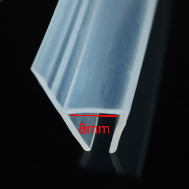 H Shape Bath Shower Glass Door Silicone Rubber Seal Strip Weatherstrip For  8mm Glass