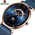 גמול למעלה מותג יוקרה גברים שעון חגורת רשת עמיד למים גברים של שעון לוח שנה בשבוע שעון Reloj Hombre אופנה שעון כחול