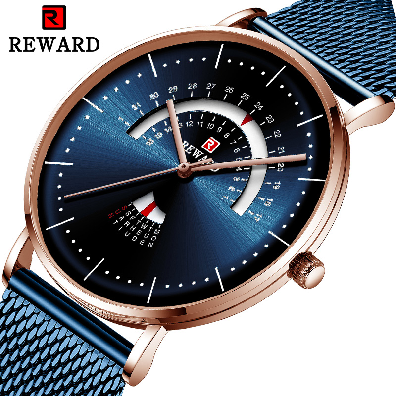 REWARD Top Brand Luxury Men Watch Mesh Belt  Waterproof Men's Watch Calendar Week Clock Reloj Hombre Fashion Watch Blue