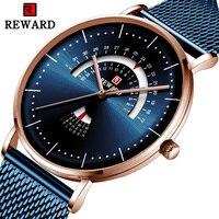 Recompensa topo marca de luxo relógio masculino malha cinto à prova dwaterproof água relógio calendário relógio semana reloj hombre moda azul|Relógios de quartzo| |  -
