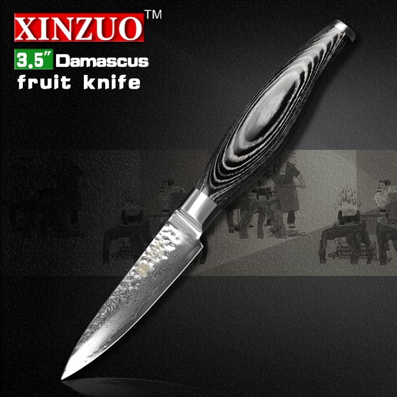 XINZUO 3 5 inch paring font b knife b font Damascus kitchen font b knives b