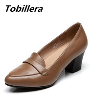 Tobillera Autumn New Women Big Size Slip On Ladies Brown Black Casual Dress Shoes Soft Cow Leather Thick Medium Heels Pumps