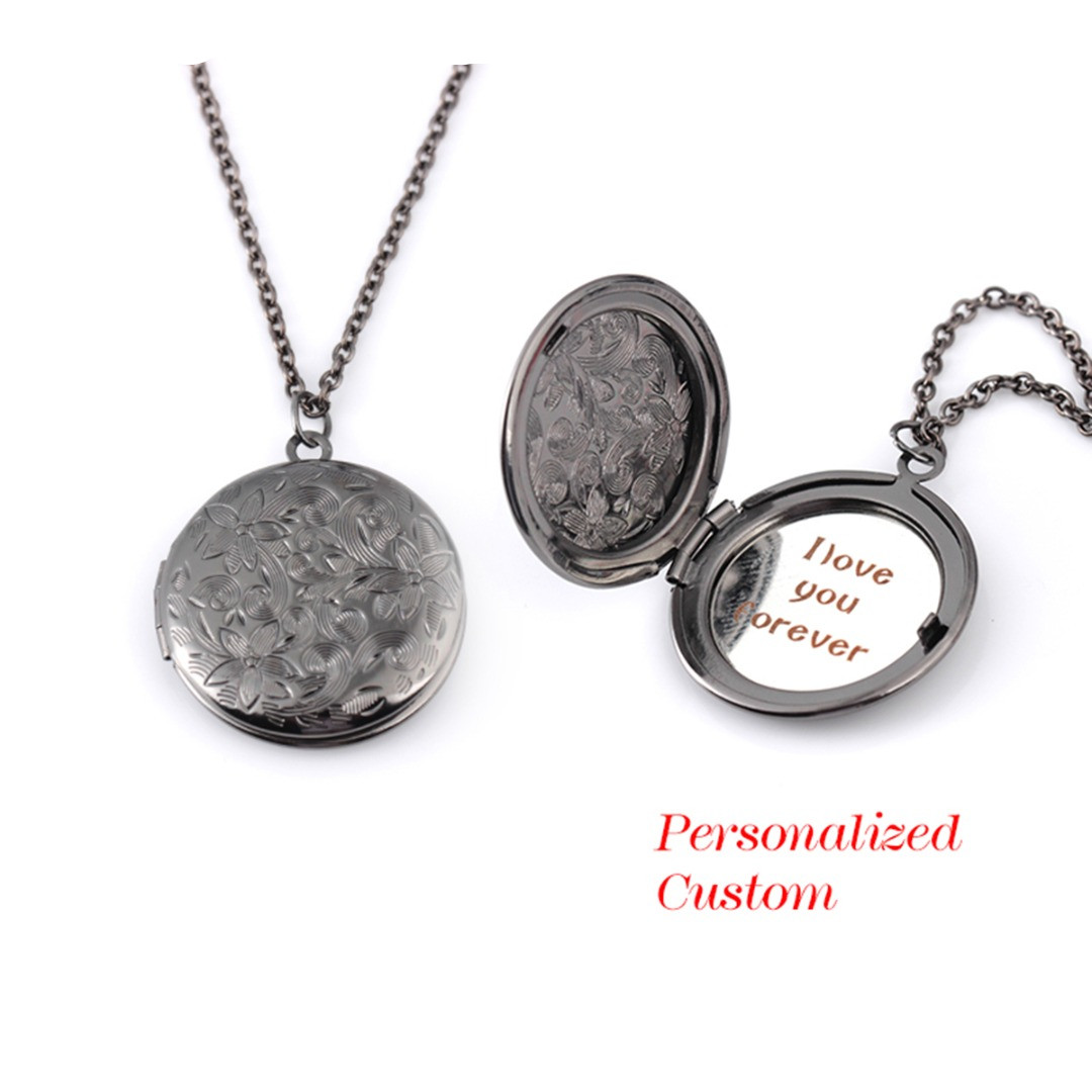 Locket Necklace Engraved Name Date