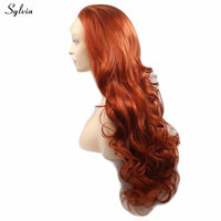 Sylvia Body Wave Synthetic Lace Front Wigs High Quality Orange Color Wigs 24 Inch Glueless 180% Density Wigs For White Women Wig