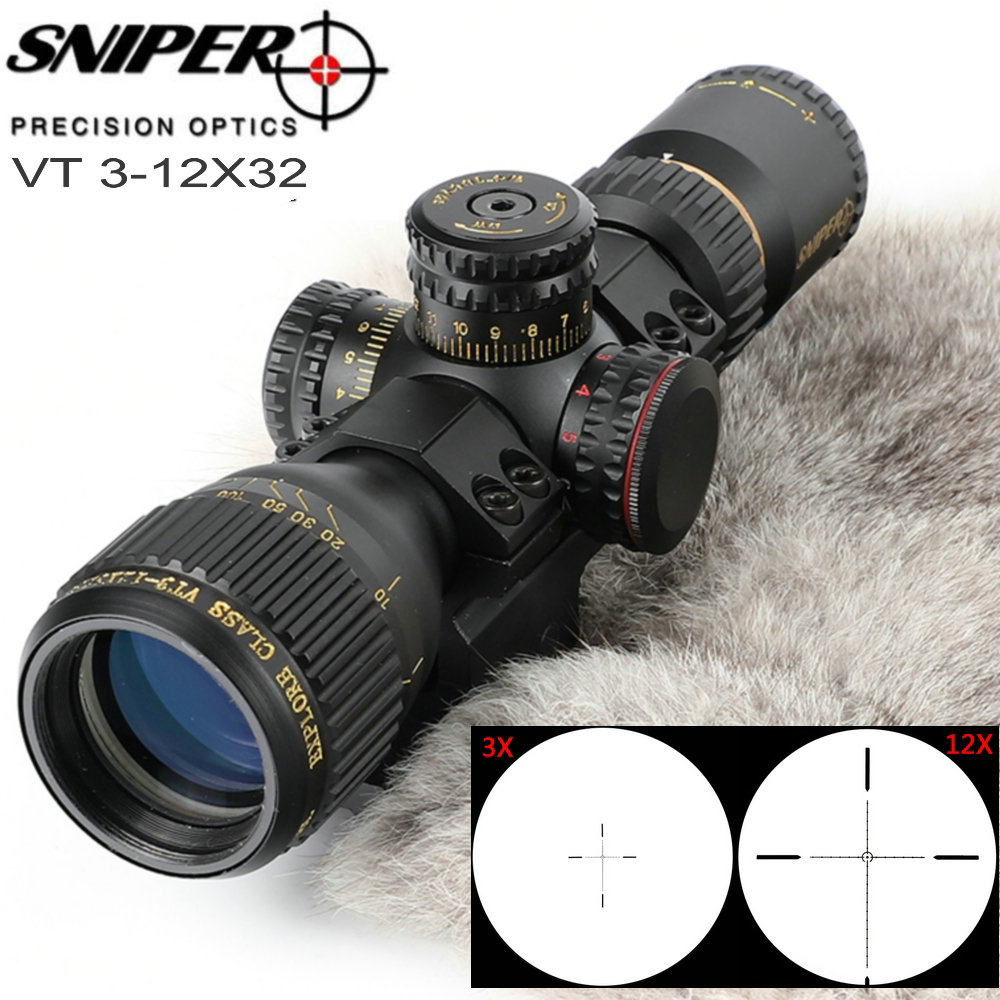 ATIRADOR VT 3-12X32 Compacto Primeiro Plano Focal do Vidro Gravado Retículo Hunting Rifle Scope Tactical Riflescopes Mira Óptica