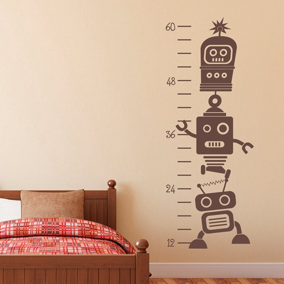 Free Shipping Removable Robot Growth Chart Vinyl Wall Decals Kids Room Art Decor Stickers Height Measurement Ruler