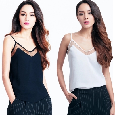 8baf2339cc908f Sell Premium Quality V-Neck Camisole Top With Lace Trimmed Mesh Sexy Tops  Ribbed Tank Top Black White Free Shipping