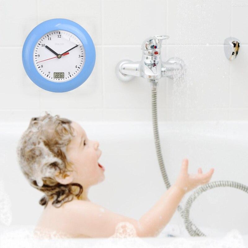 Waterproof Shower Clock New Design Bathroom Clock Wall Mounted, Suction Cup, Displays Time, Indoor Temperature