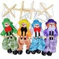 2016 Nueva Divertidos Tirón Juguete Marioneta Marionetas de Juguete de Actividad Conjunta De Madera Del Payaso Muñeca de La Vendimia