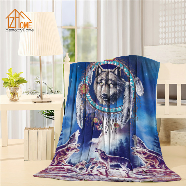 memory home personalized fleece blanket throw cool wolf dream