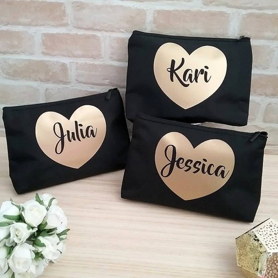 Personalizado Nombre de dama de honor maquillaje cosméticos bolsas dama de honor nupcial vanidad caso boda fiesta bolsas regalos