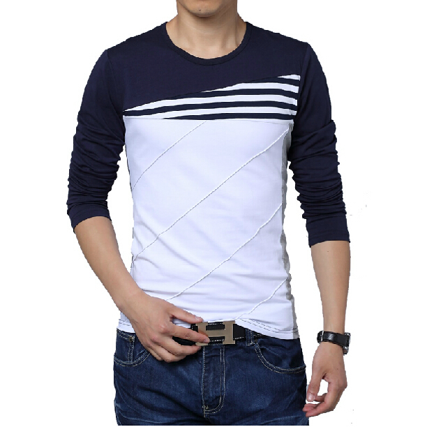 ae24697e58b4 NEW patchwork o-neck casual striped t-shirt men long sleeve fit men tee  shirt clothing camiseta men t shirt plus size 5XL