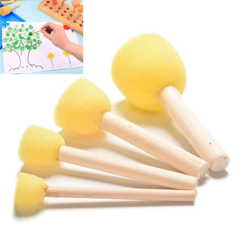 4PCS DIY Wooden Sponge yellow Paint Brush Handle Painting Graffiti Kids Doodle Toys Art Children's Painting Tool Drawing Toys