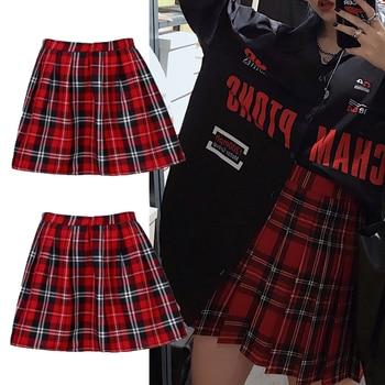 High Quality School Uniform Skirt Fashion Plaid Short Skirt Pleated Cotton Skirt Women Casual Japanese Preppy Mini Skirt 4