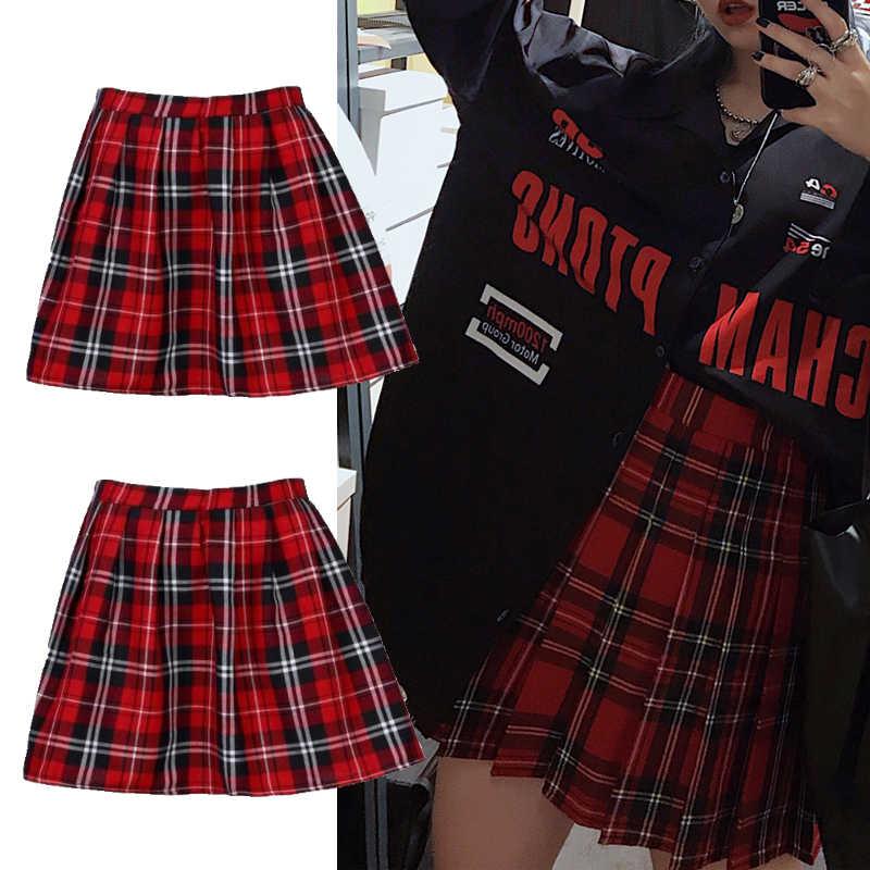 Kualitas Tinggi Seragam Sekolah Rok Fashion Kotak-kotak Pendek Rok Lipit Kapas Rok Wanita Kasual Jepang Rapi Rok Mini